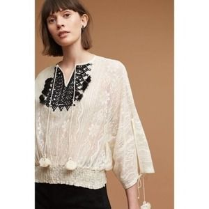 Anthro Vineet Bahl Iona Cream Lace Top Size S